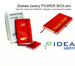 POWER BOX kolor czerwony z notesem th INK ME A5 w kratkę
